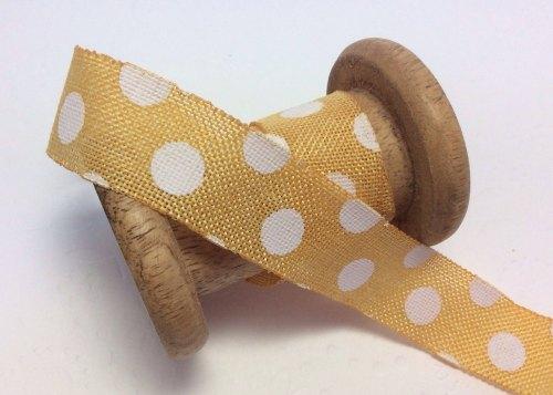 25mm banana dotty burlap ribbon