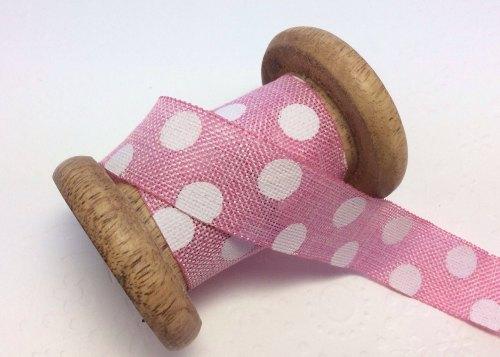 25mm Pink grapefruit dotty burlap ribbon