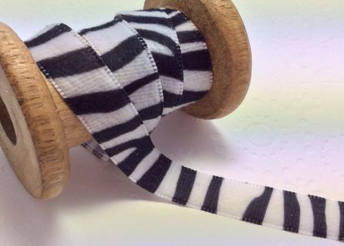 Zebra print velvet ribbon 15mm