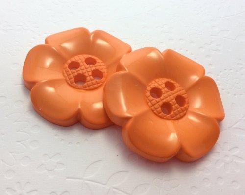 65mm flower button orange