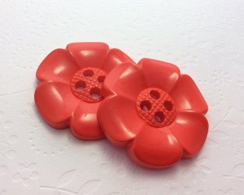 65mm flower button red