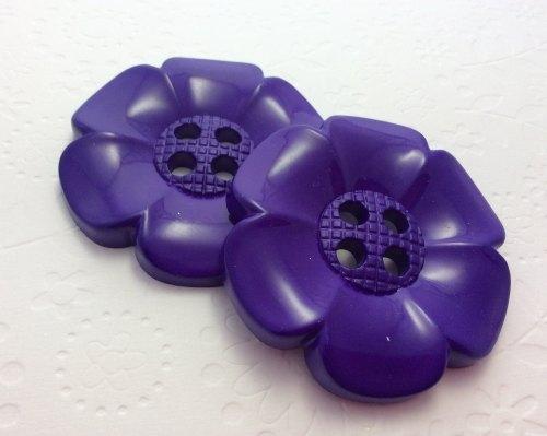 65mm flower button purple
