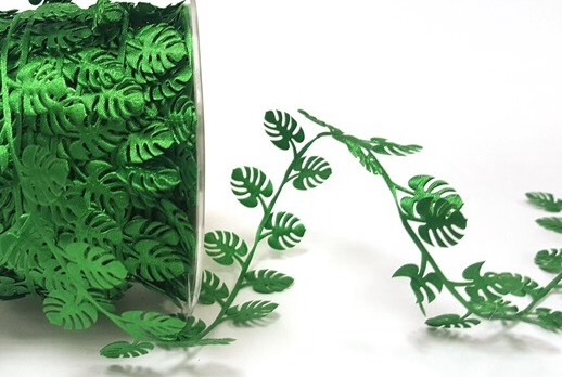 Jungle leaf satin cut out ribbon