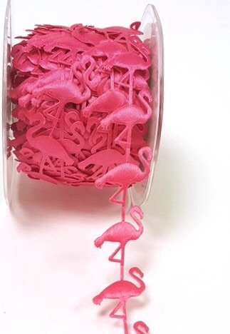 Flamingo satin cut out ribbon