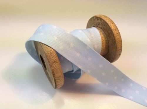 Baby blue star print 20mm bias binding