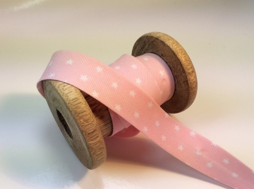 Baby pink star print 20mm bias binding