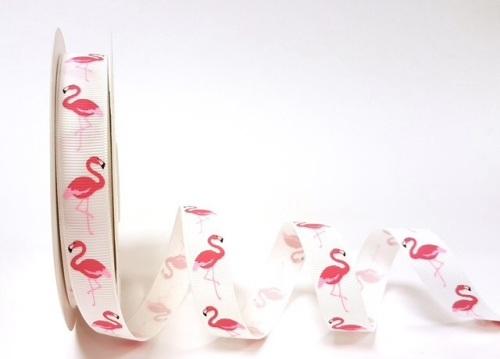 16mm Flamingo print off white grosgrain ribbon