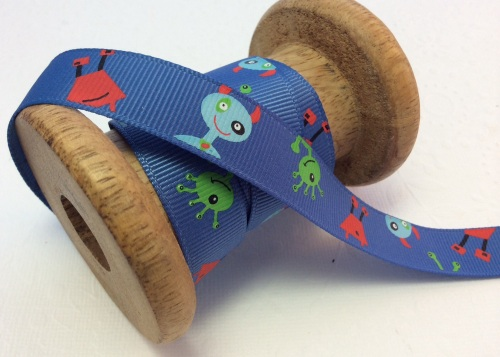 Blue alien 16mm grosgrain ribbon