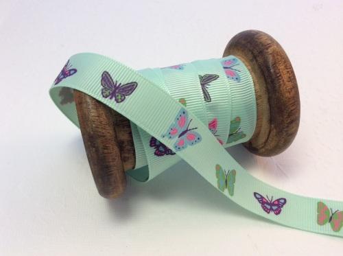 Mint butterfly 16mm grosgrain ribbon