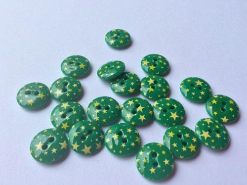 Star print green button