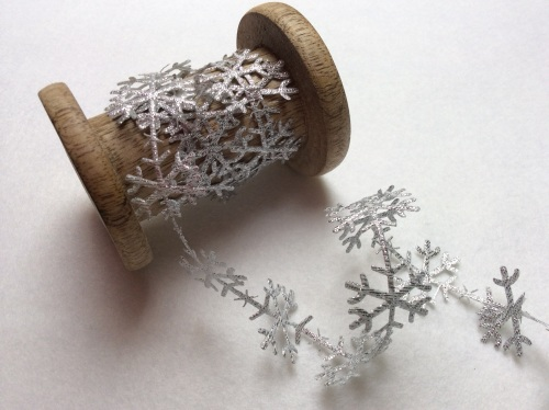 25mm silver metallic snowflake trim