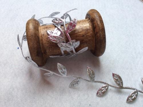 Silver metallic leaf cut out trim