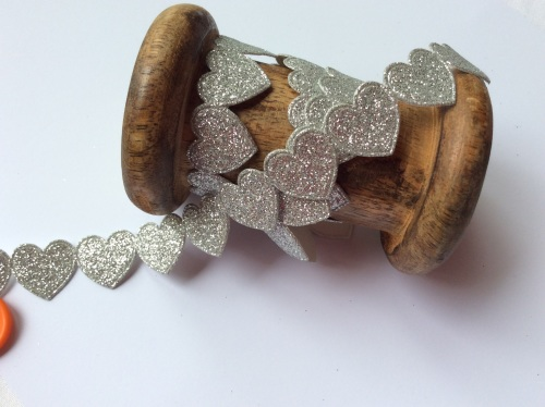 Silver glitter heart trim