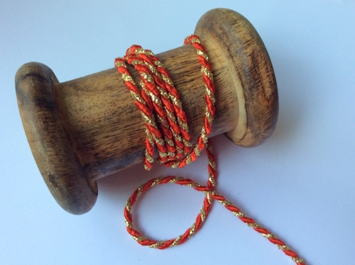 3mm Red/Gold twisted cord