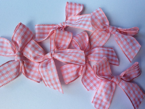 Pink large 5.5cm red gingham bow