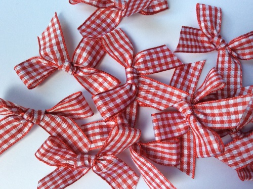 Red large 5.5cm gingham ribbon bows