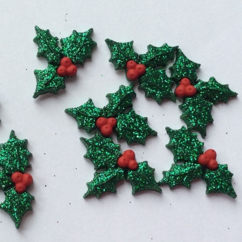 Glittery holly sprig button