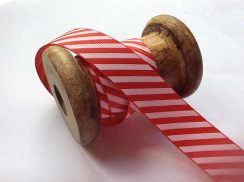 Candy cane stripe ribbon - 4 widths