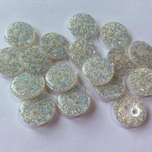 white/Silver glitter buttons