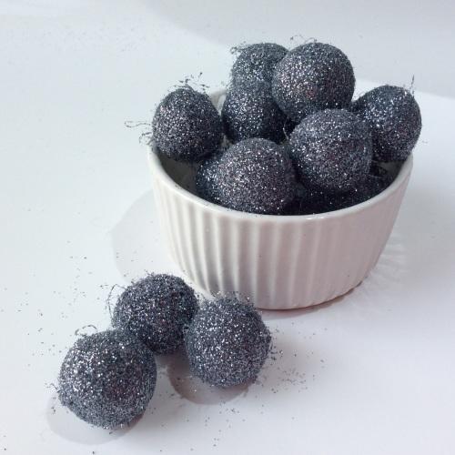 Graphite glitter felt balls