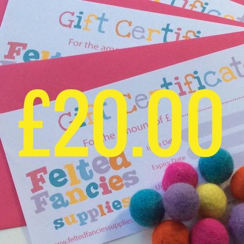 Felted Fancies Supplies gift vouchers £20.00