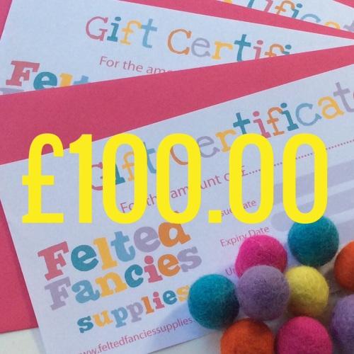 Felted fancies Supplies gift vouchers £100.00