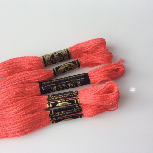 DMC Ebroidery Thread matching SHOCKING PINK FELT