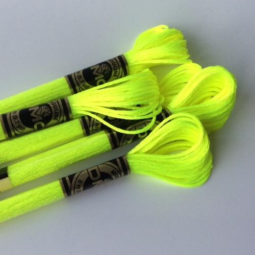 DMC Light effects Embroidery Thread matches BLAZING YELLOW FELT