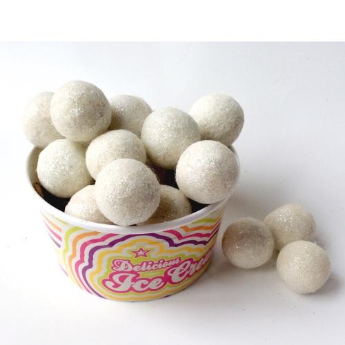 White glitter felt balls