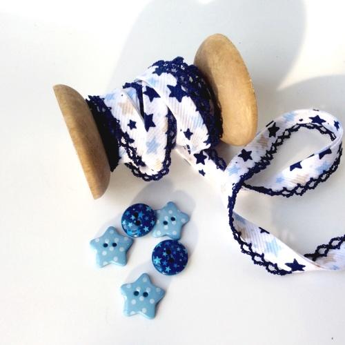 Star Print Lace Edge Bias Binding - MIDNIGHT/PALE BLUE