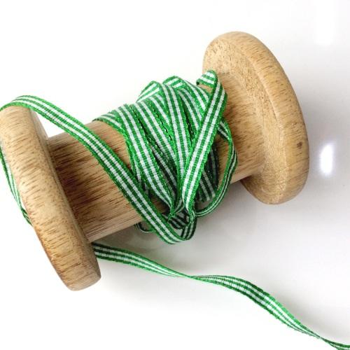 6 mm Green gingham ribbon