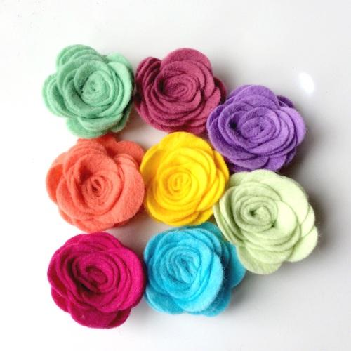 Wool Blend Felt Roses - Large