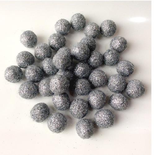 SILVER 15mm Glitter felt balls