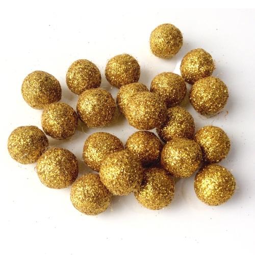 GOLD 15mm Glitter Felt Balls