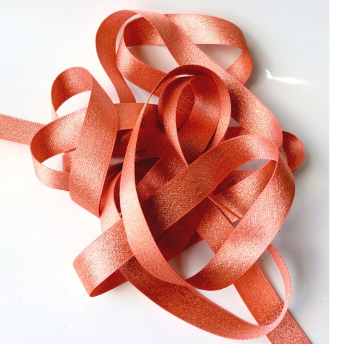 Sparkly 15mm ribbon - CORAL