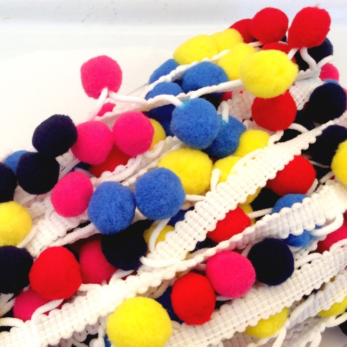10mm multi coloured pompom brad - CIRCUS