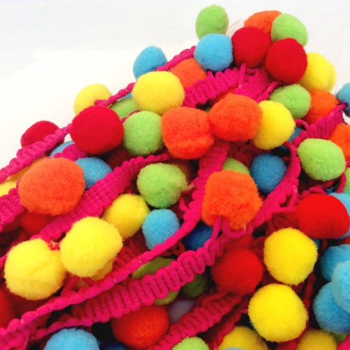 10mm multi coloured pompom braid - FIESTA