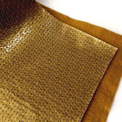 Gold sequin effect metallic felt