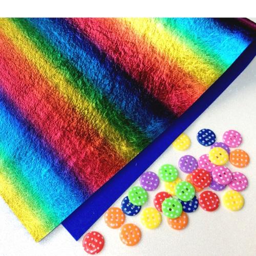 Rainbow leathered effect felt
