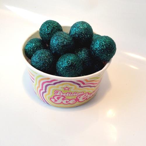 TEAL glitter felt ball