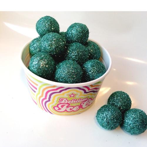 SEA GREEN glitter felt ball