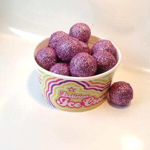 VINTAGE PINK glitter felt ball