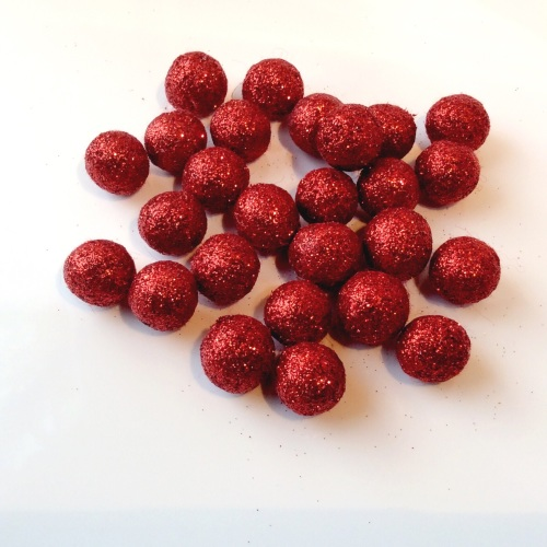 RED 15mm glitter felt balls