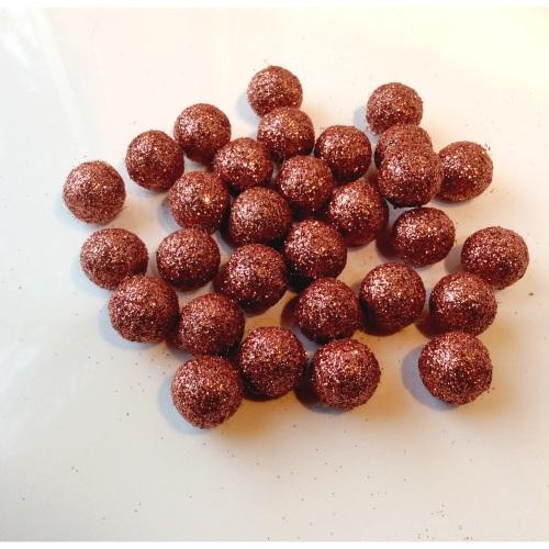ROSE GOLD 15 mm glitter felt balls