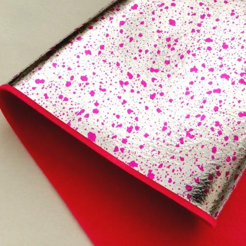 Leathered effect Splatter felt - SILVER/PINK