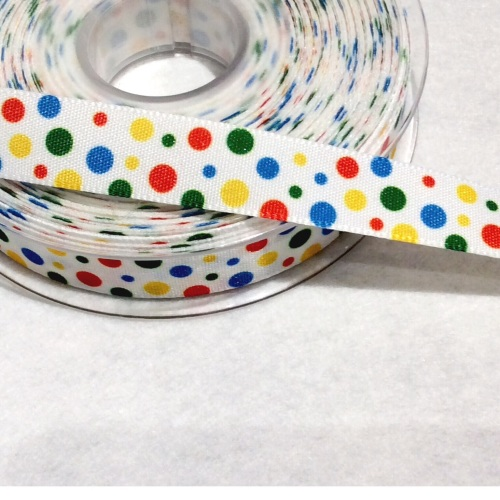 Primary coloured dotty 16 mm ribbon