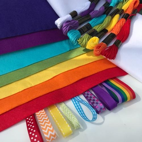 Rainbow felt/ribbon bundle
