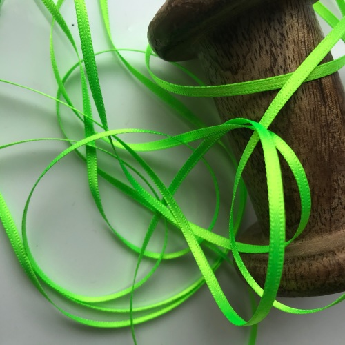 Green Fluro 3mm satin ribbon