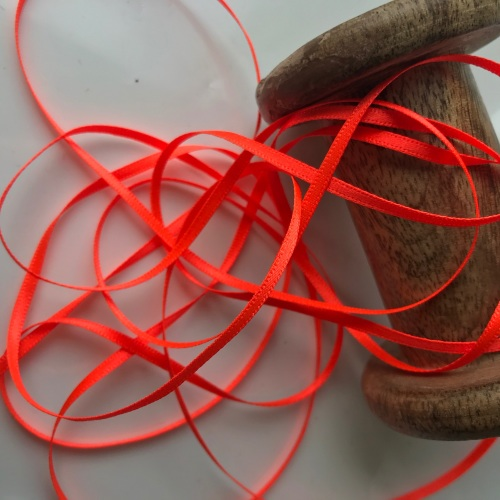 Orange Fluro 2mm satin ribbon