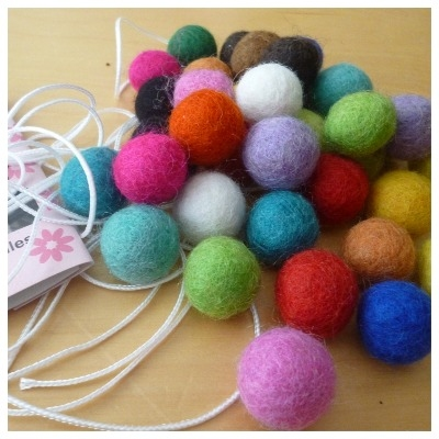 Wool felt ball garland kit